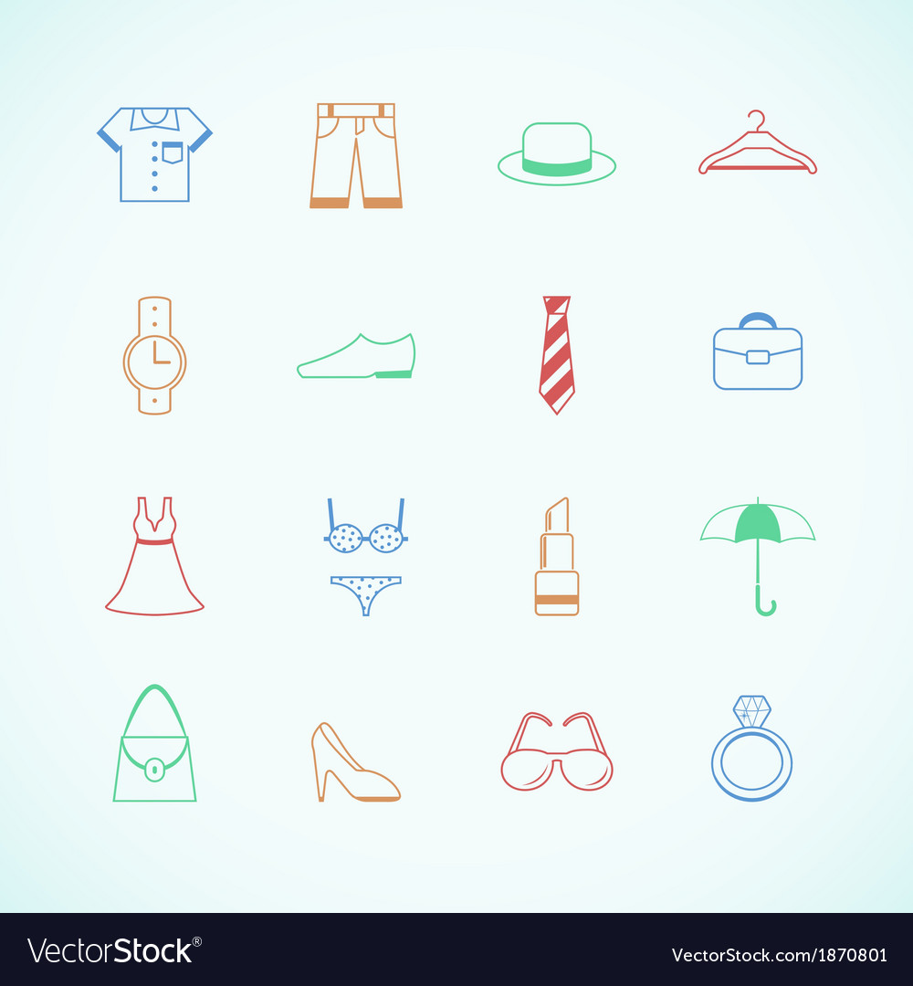 Clothes accessories pictograms