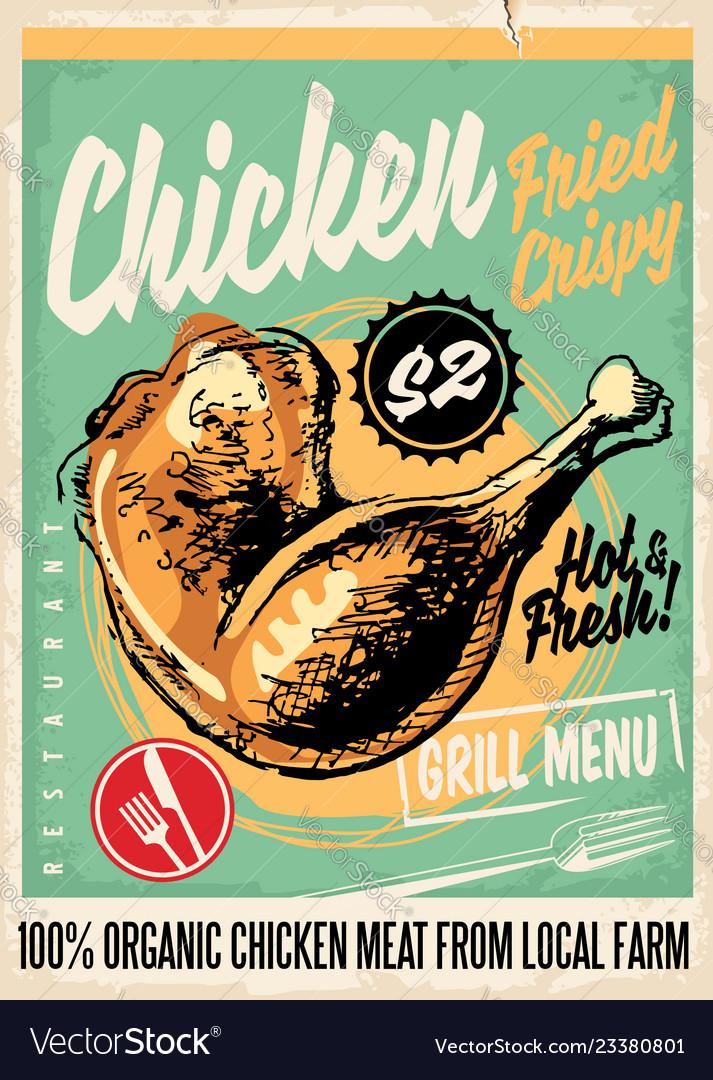 Crispy fried chicken legs retro restaurant menu de