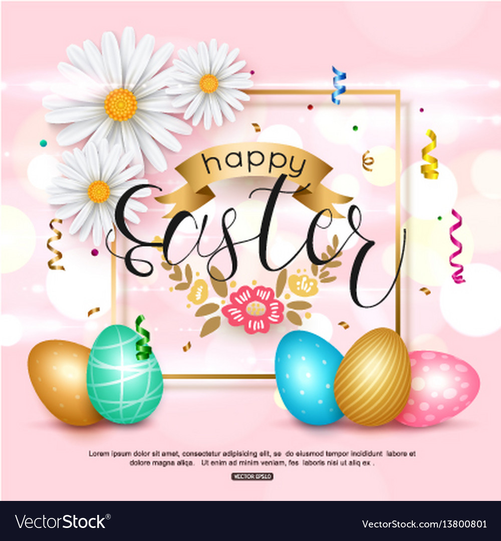 Easter pink background with chamomile spring