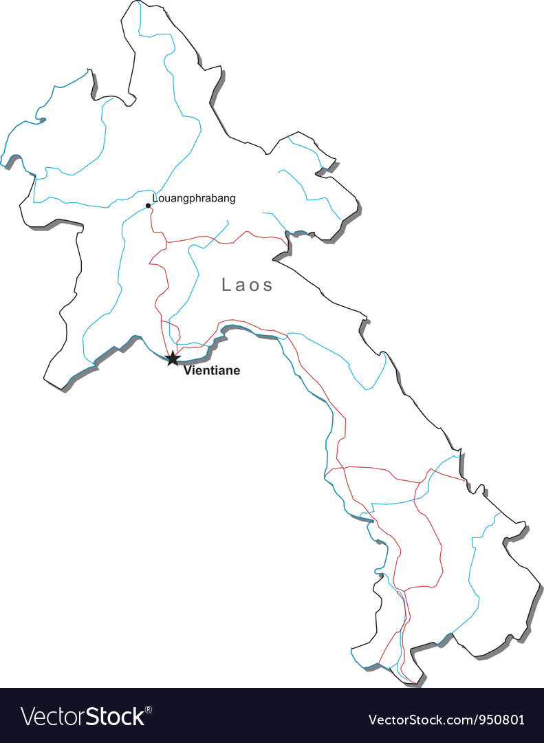 Laos Black White Map vector image