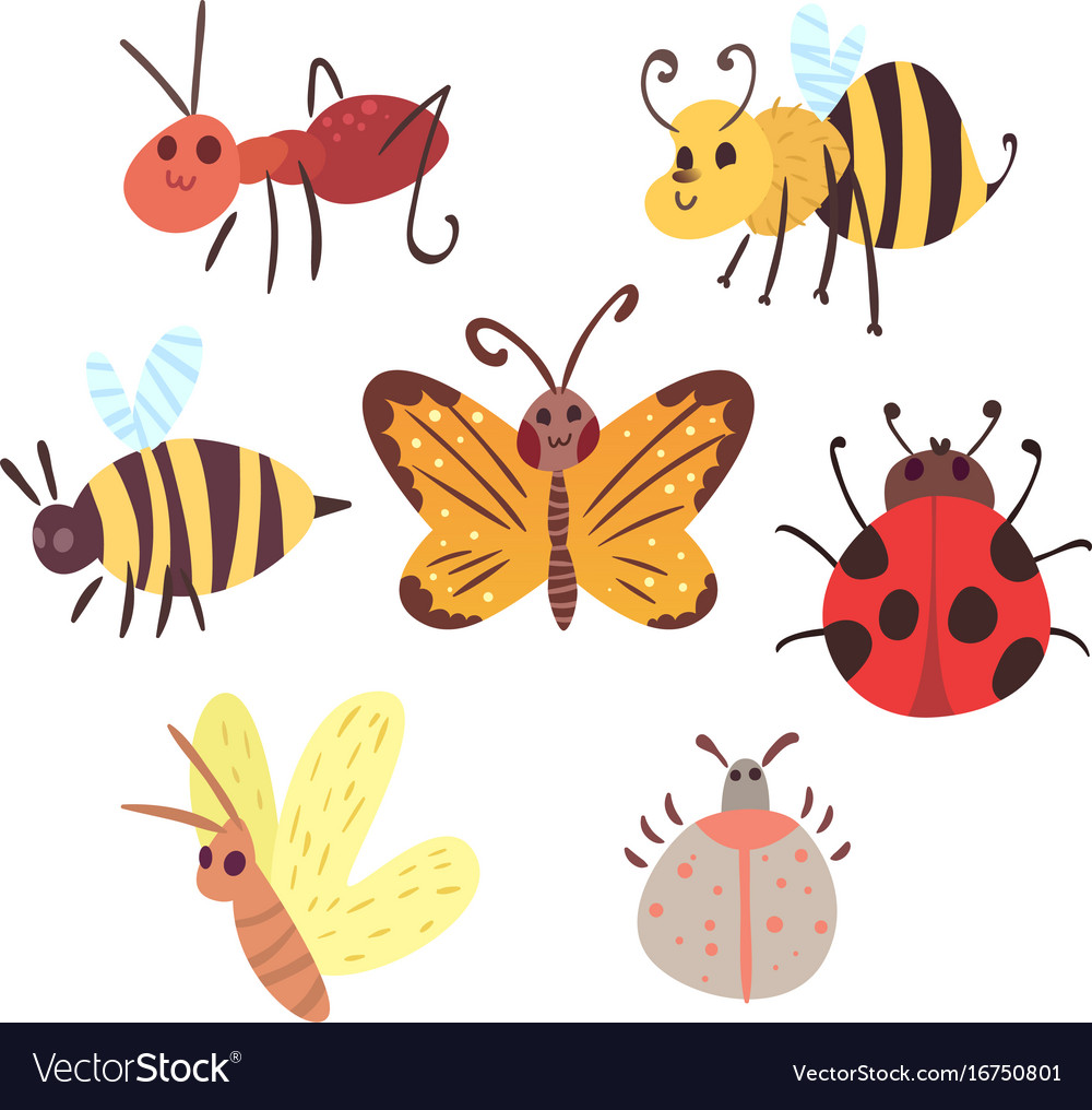 Set cartoon funny bugs
