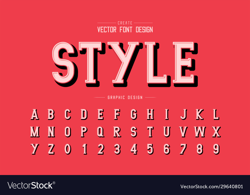 Shadow font and alphabet writing style typeface