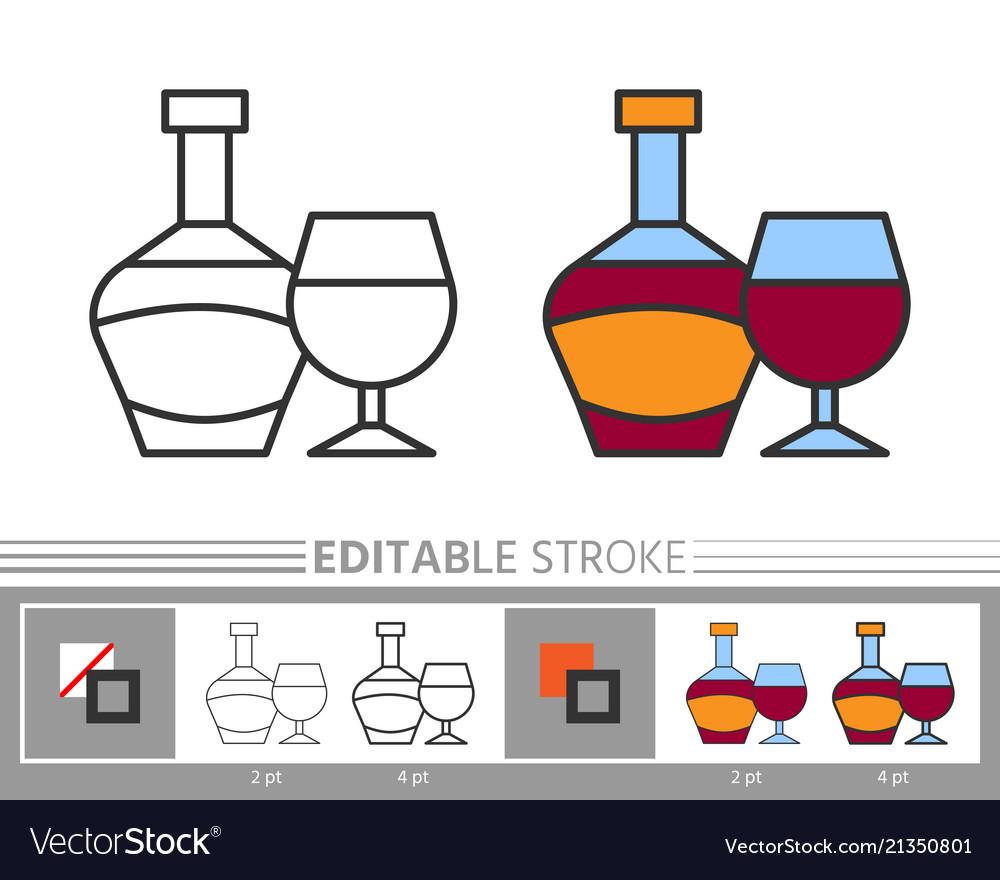 Wine editable stroke line icon coloring page