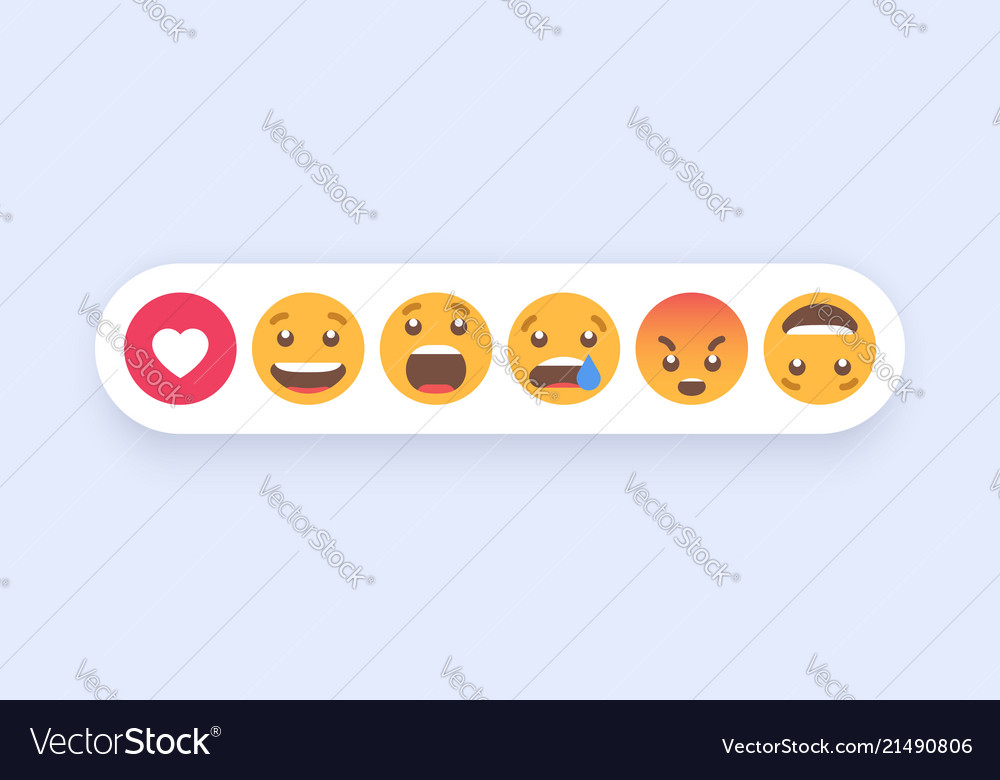 Abstract set of emoticons emoji flat style icons