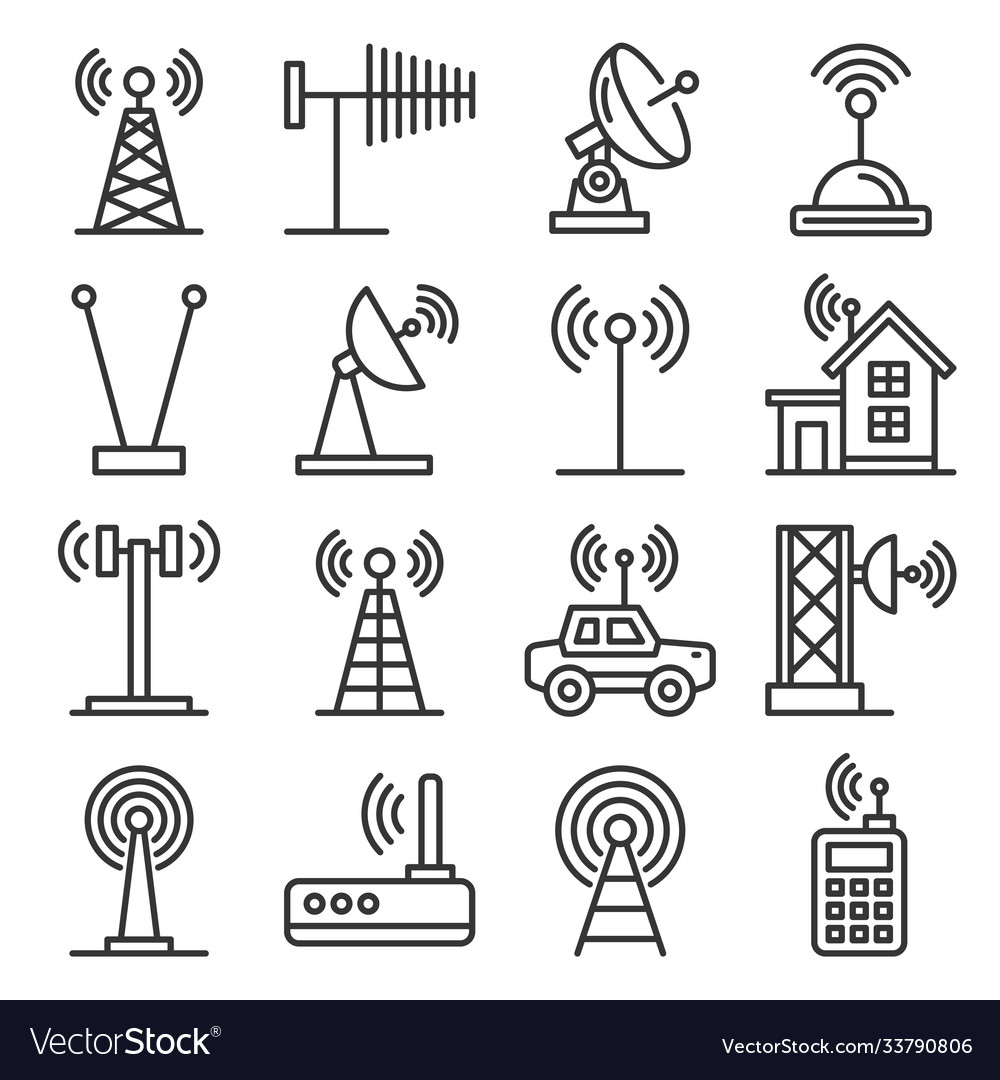 Antenna and wireless technology icons set
