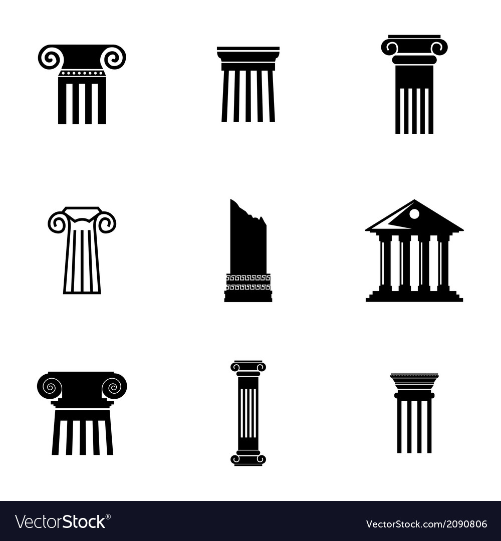 Black column icons set