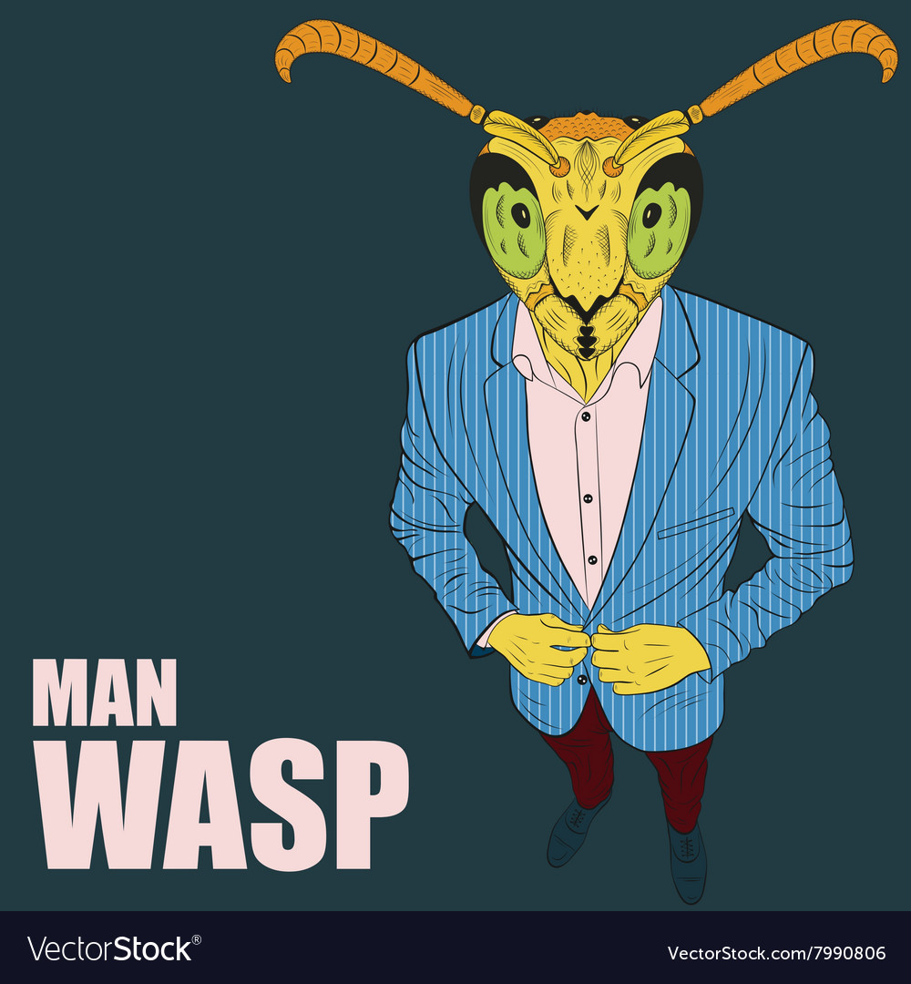 Cartoon character wasp vector image