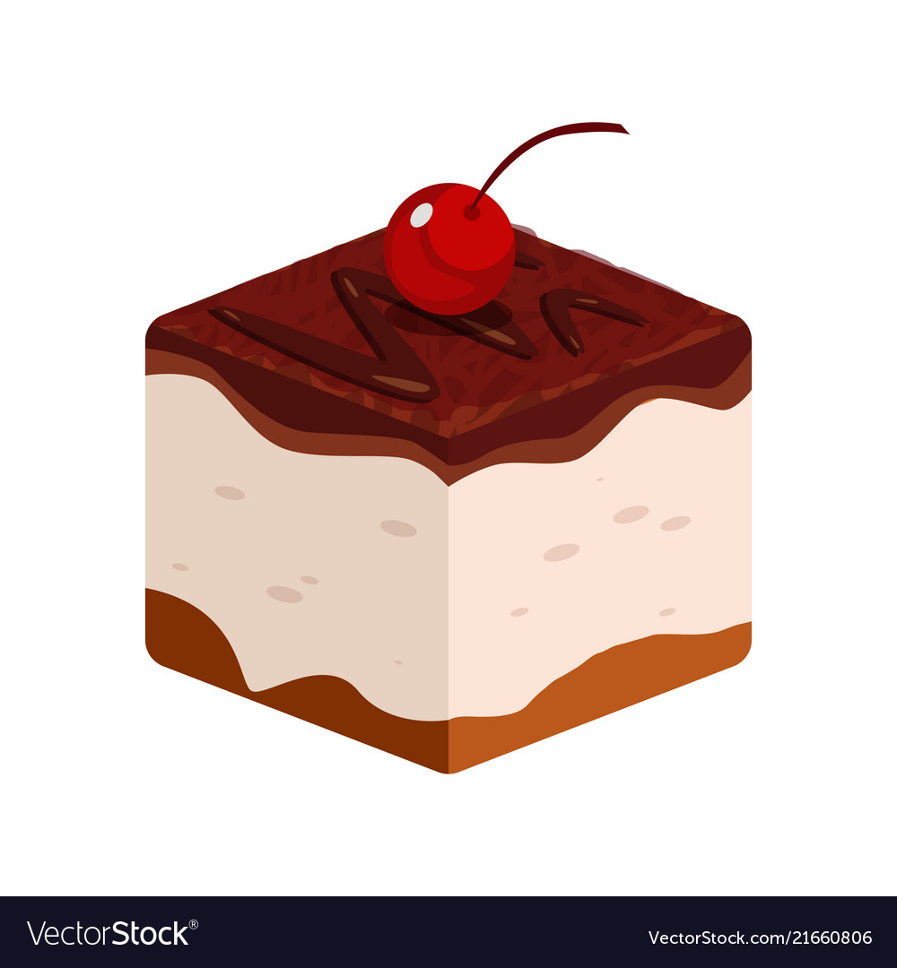 Chocolate cake icon with cherry of