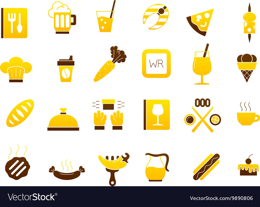 Diner yellow brown icons set vector image