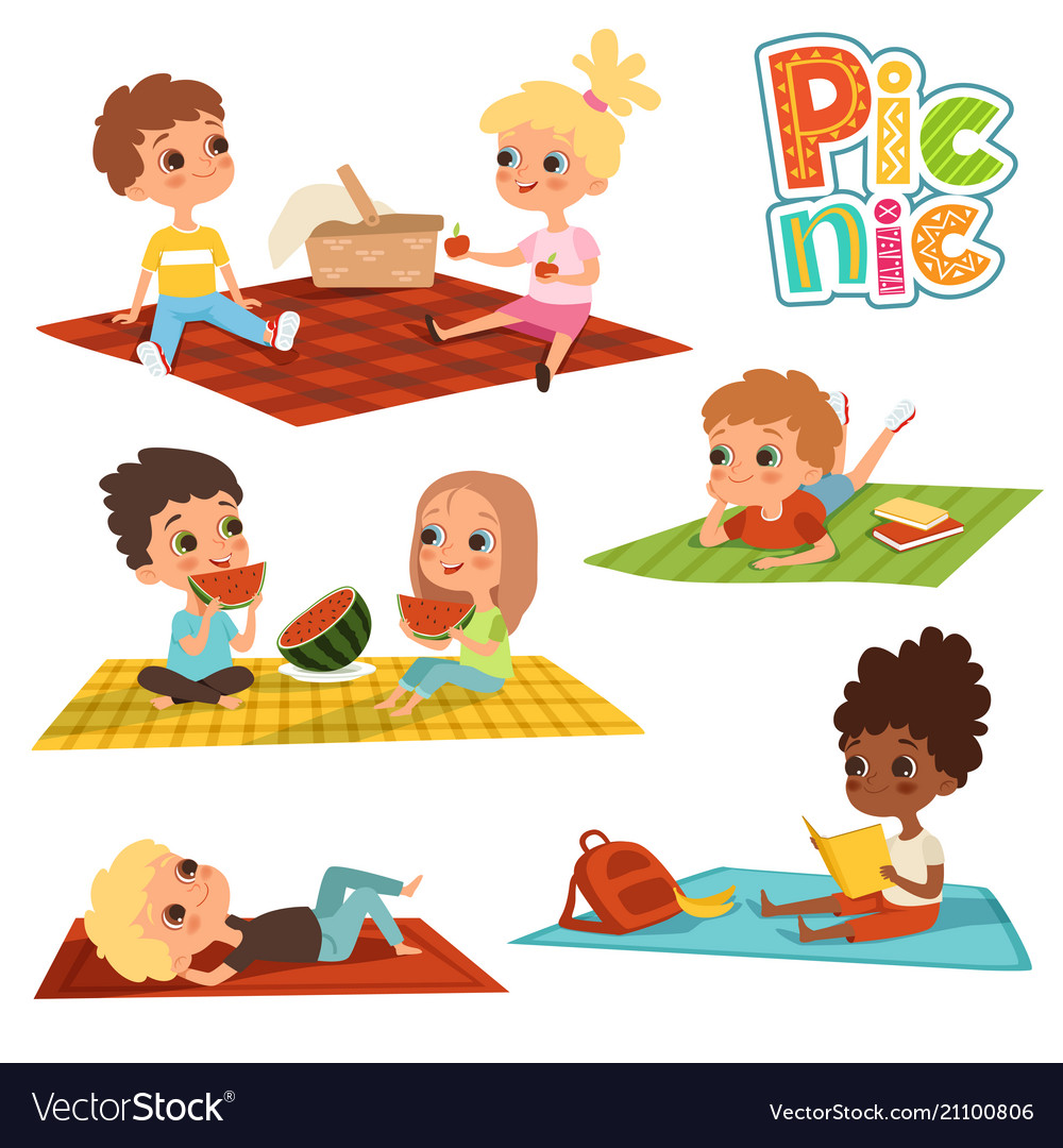 Funny kids in park picnic concept pictures