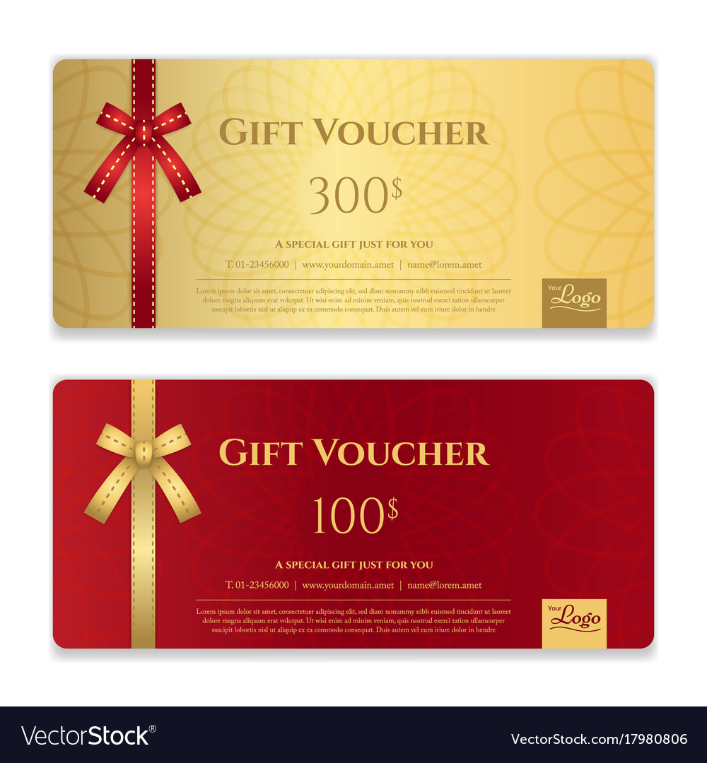 Gift Voucher Certificate Or Discount Card Vector Image
