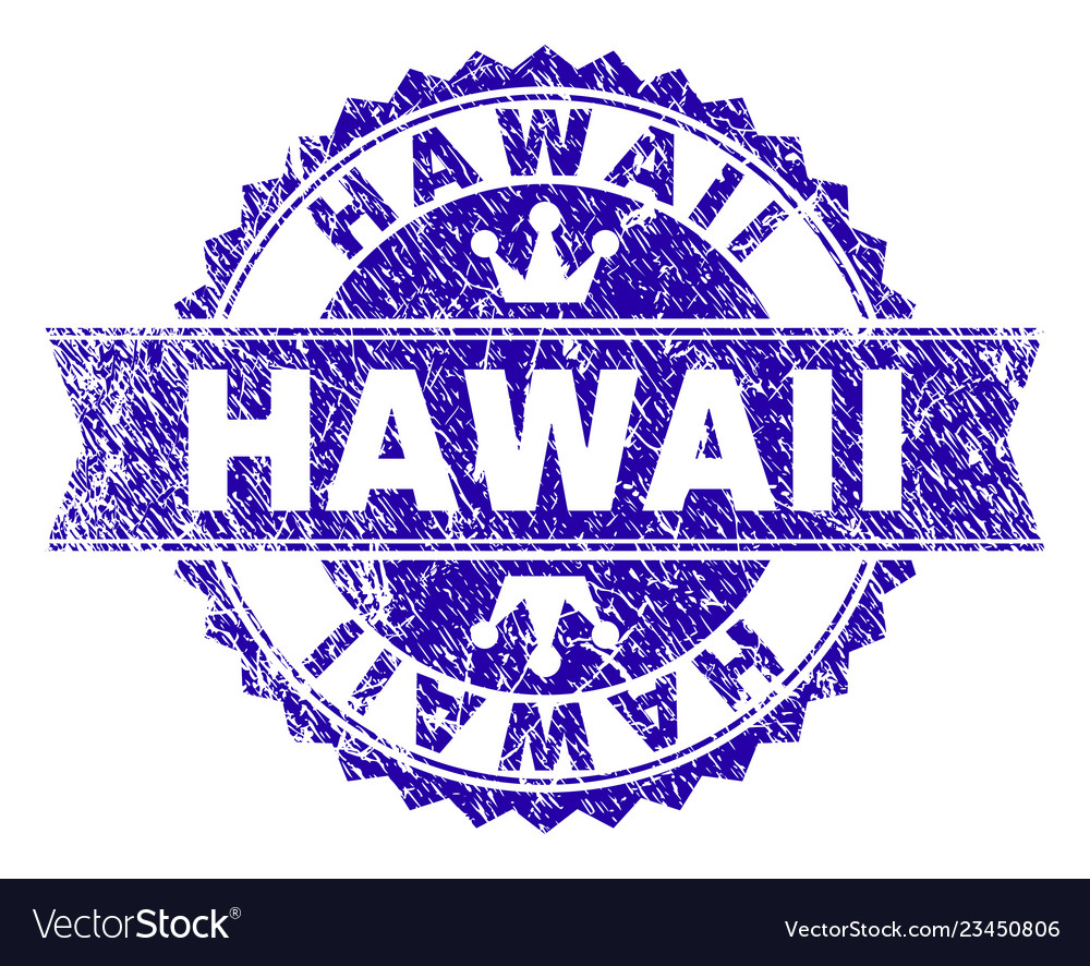 Grunge Textured Hawaii Stamp Seal With Ribbon Vector Image