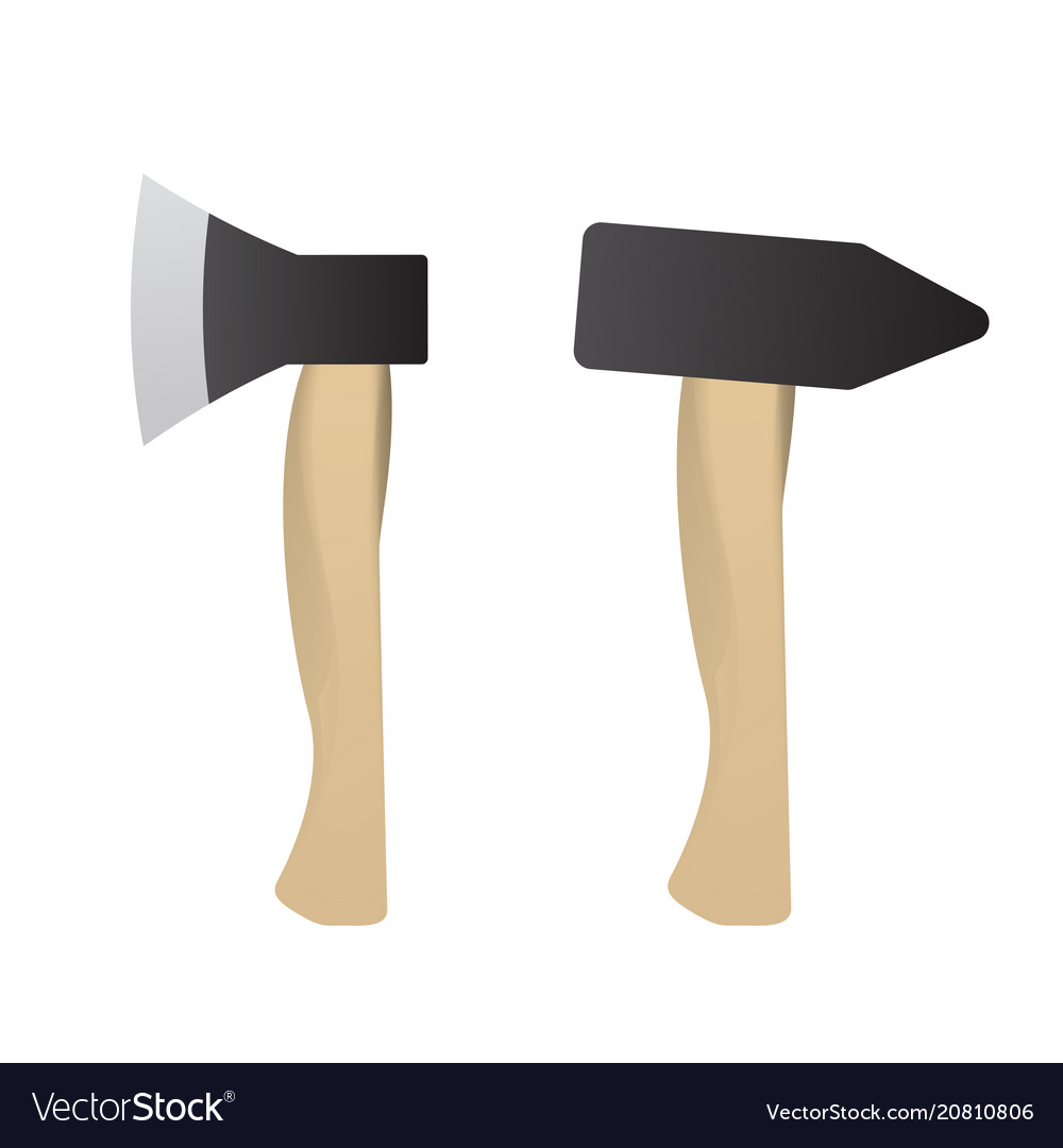 Hammer and axe set for build vector image