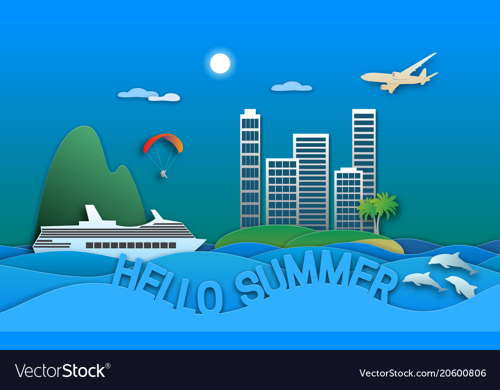 Hello summer travel in paper cut style sea