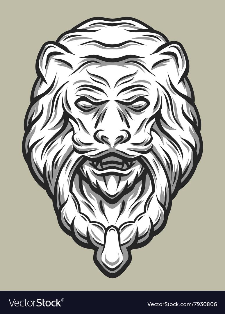 Lion head door knocker line art style