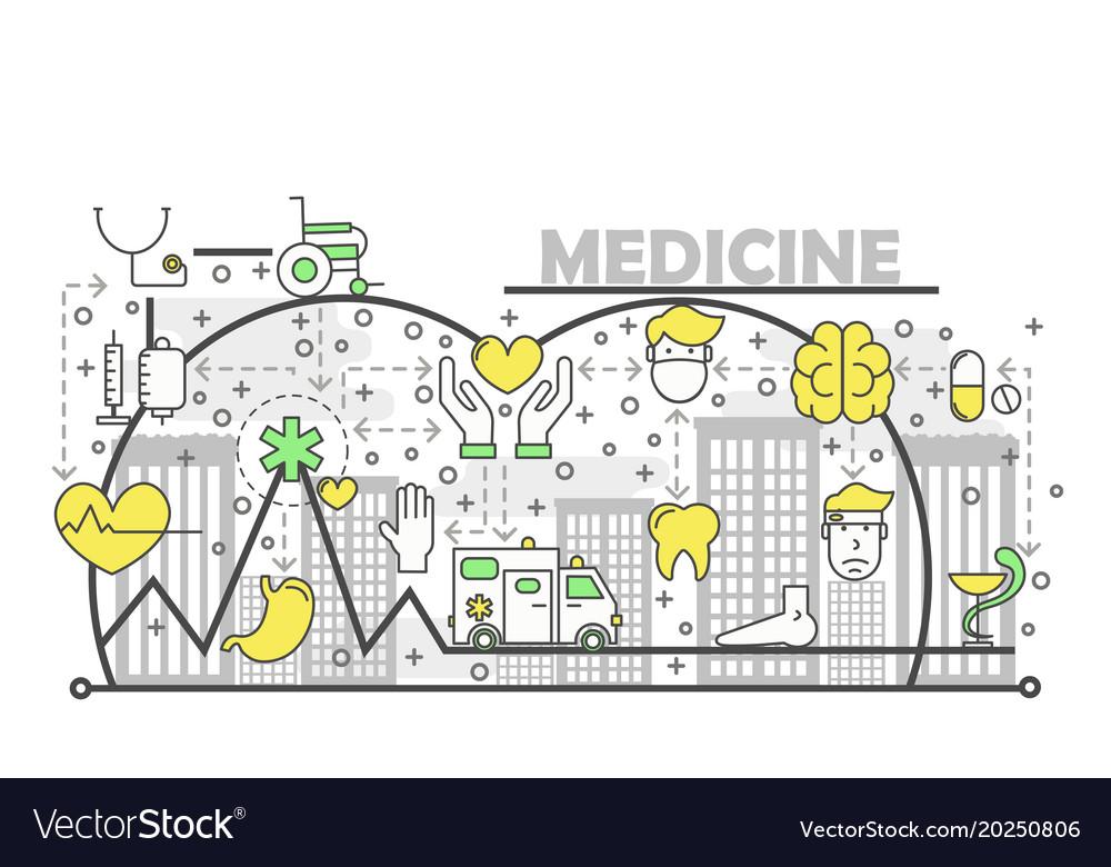 Medicine concept flat line art