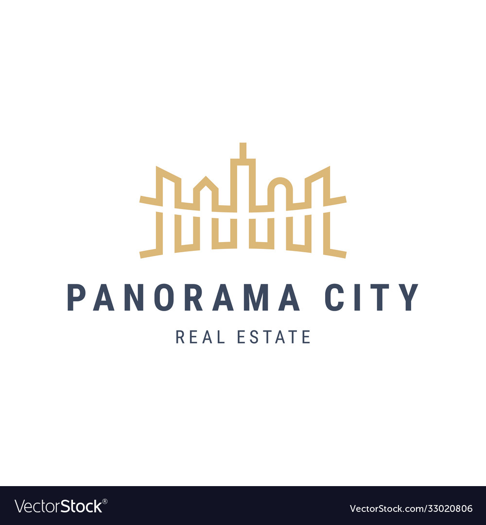Panorama city landscape logo with skyscrapers