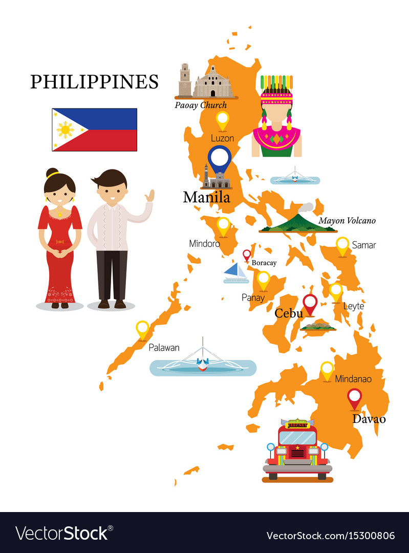 Philippines map and landmarks with people in