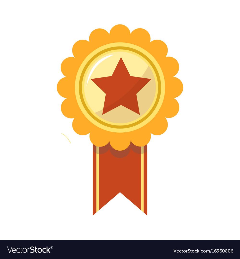 Ribbon award of golden star for sport championship vector image