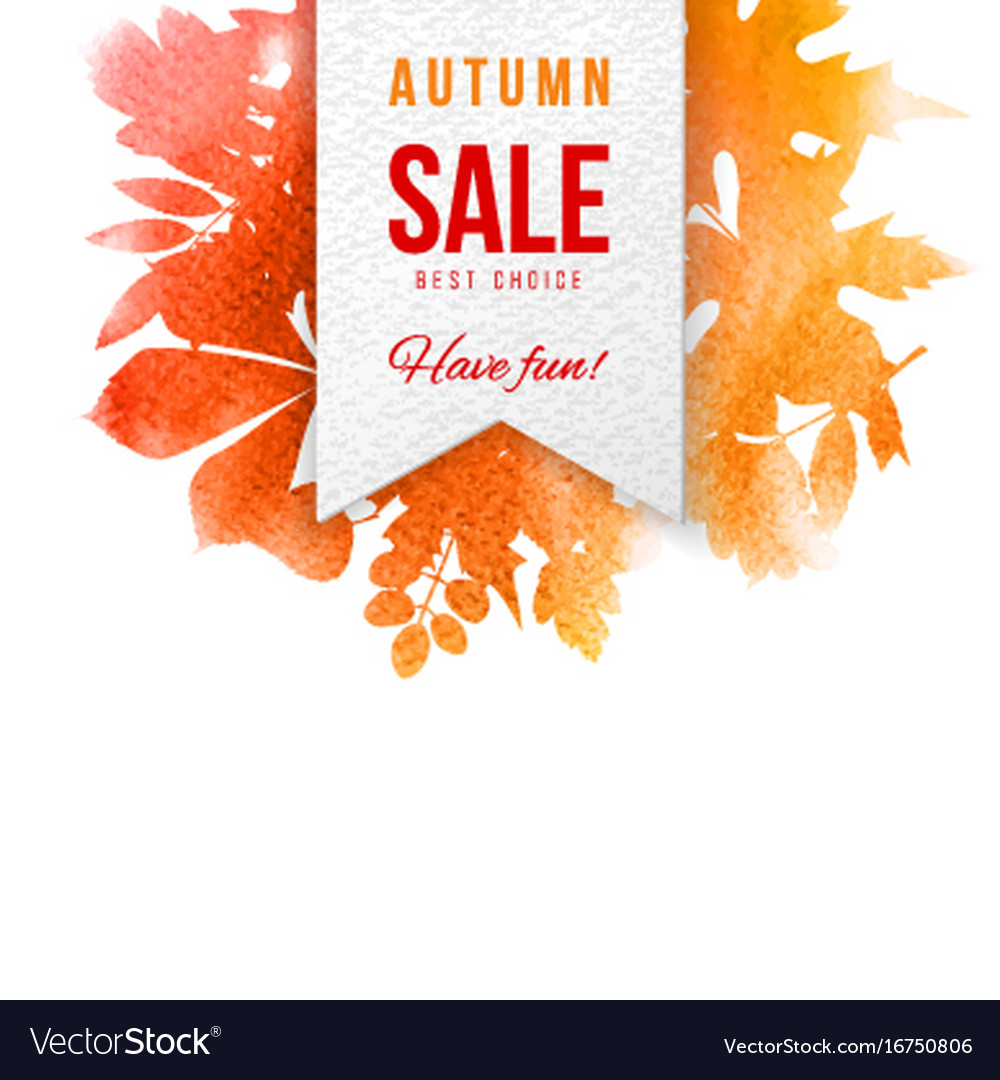 Sale emblem over background with autumn leaves