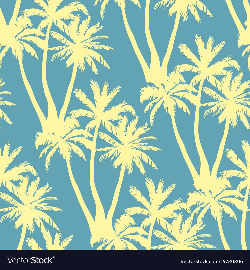 Seamless tropical palms pattern summer endless