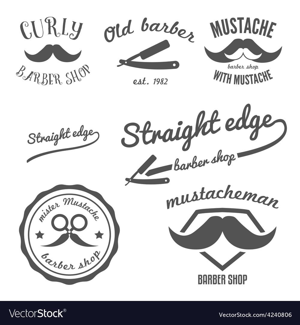 Set of vintage barber shop logo stickers labels vector image