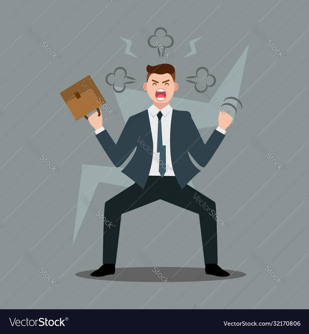Stress at workplace furious businessman