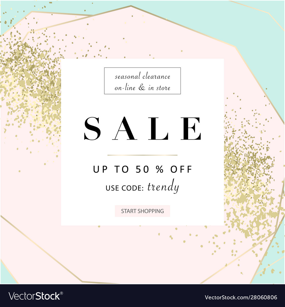 Trendy chic geometric background with gold glitter