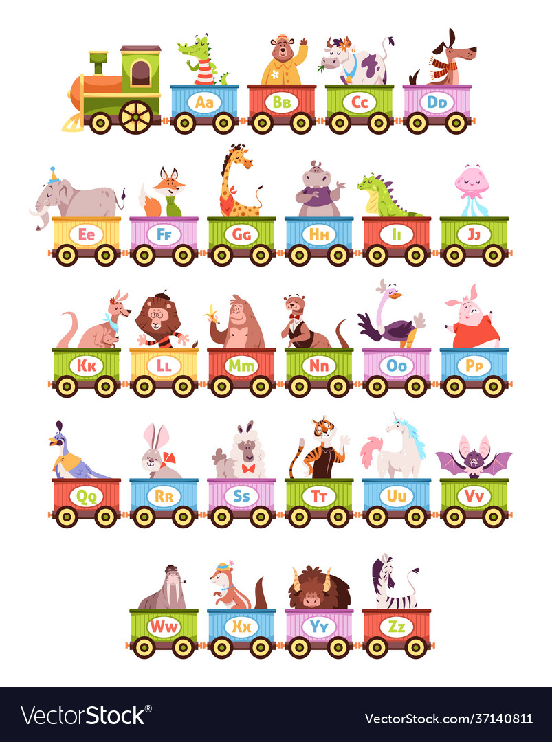 Alphabet train cartoon kids color wagons funny