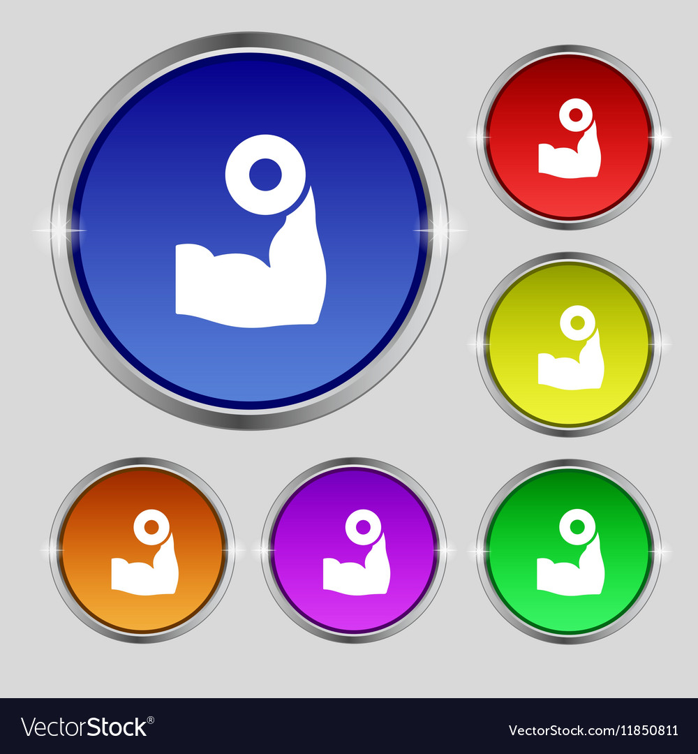 Arm muscle with dumbbell in hand icon sign Round vector image