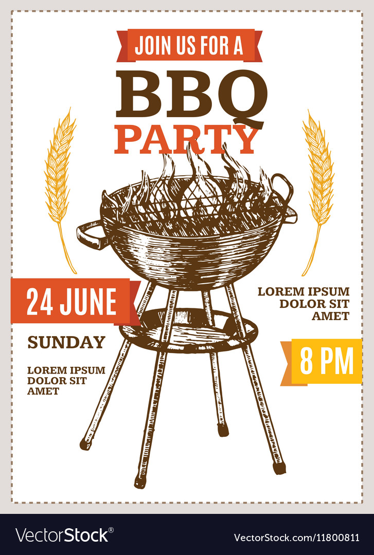 Barbecue Party Poster Hand Draw Sketch