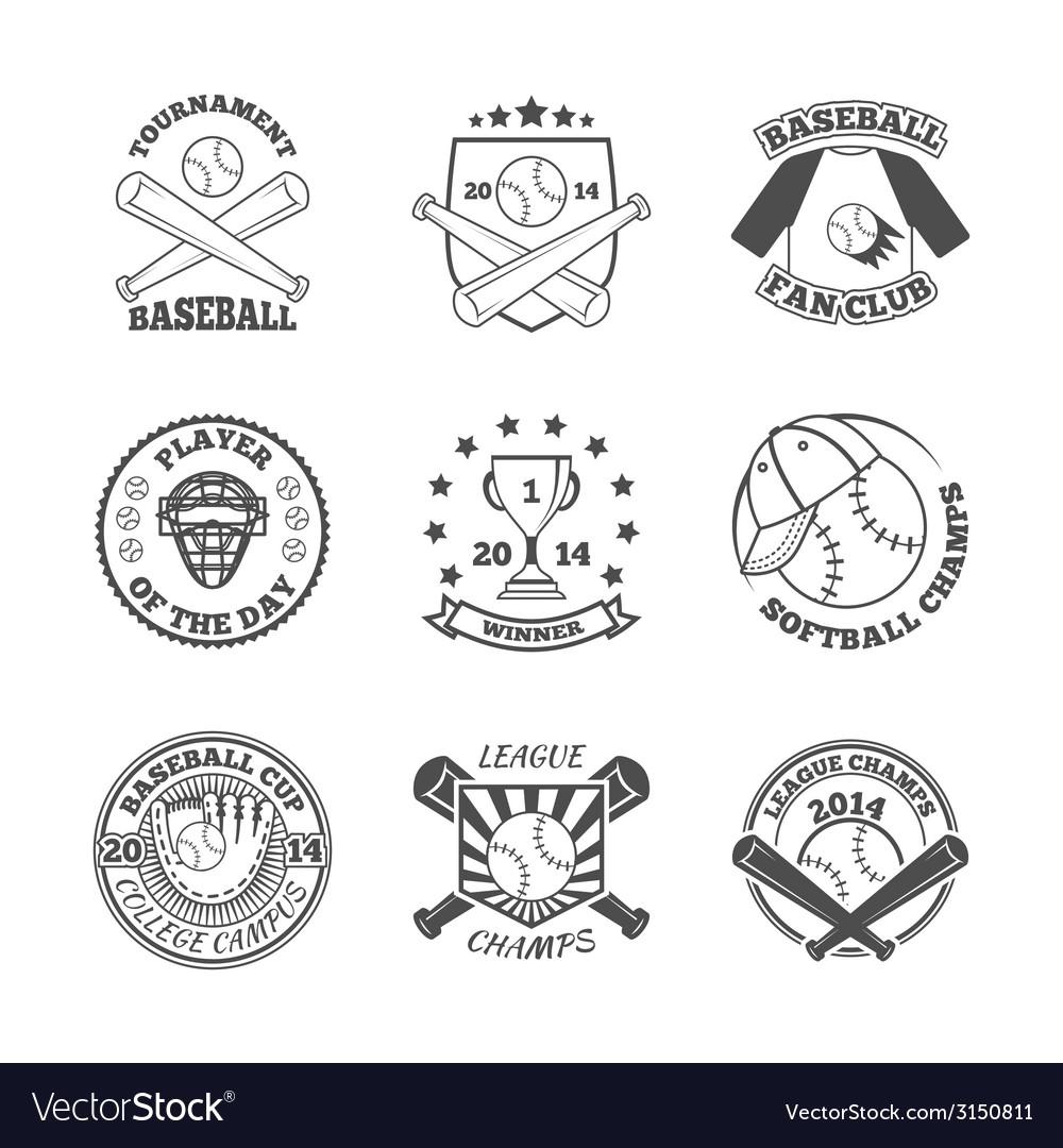 Baseball labels icons set