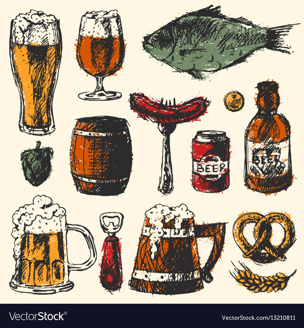 Beer food set with mug bottle wheat hop elements vector image