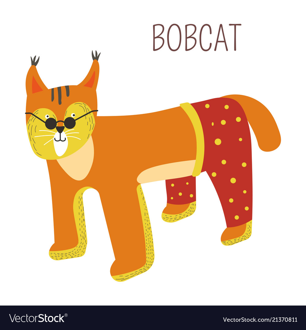 Bobcat in pants and sunlasses childish character