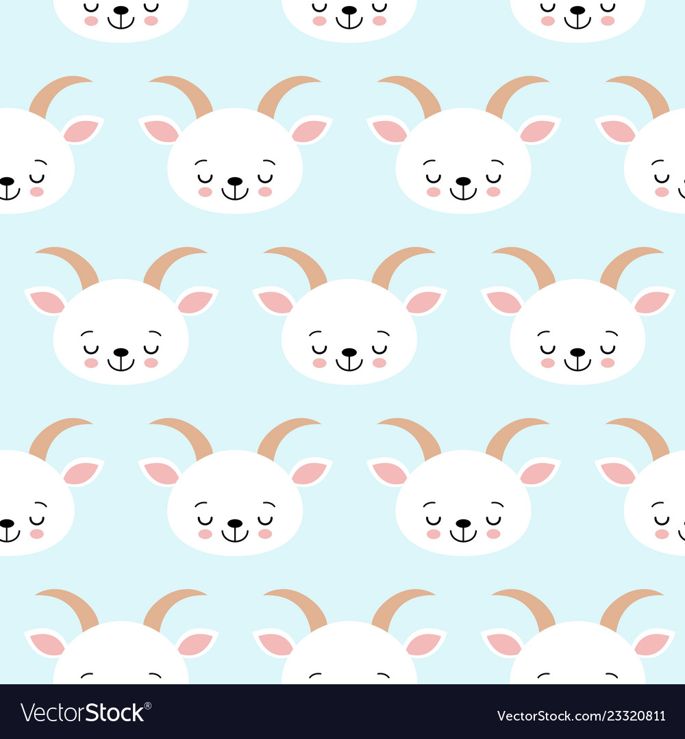 Cute cool seamless pattern baby animals farm goat