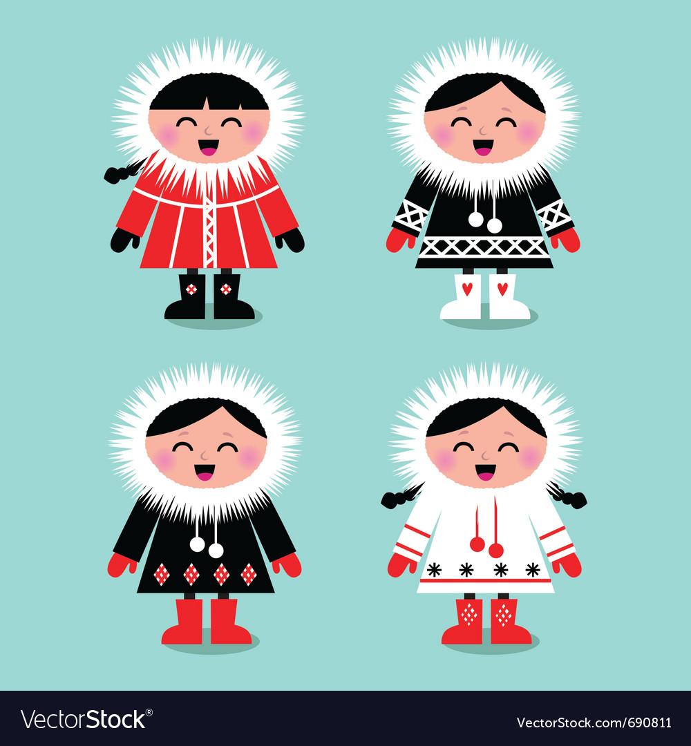 Cute eskimo kids Royalty Free Vector Image - VectorStock
