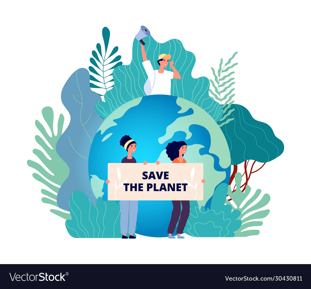 Earth day concept save planet group with posters