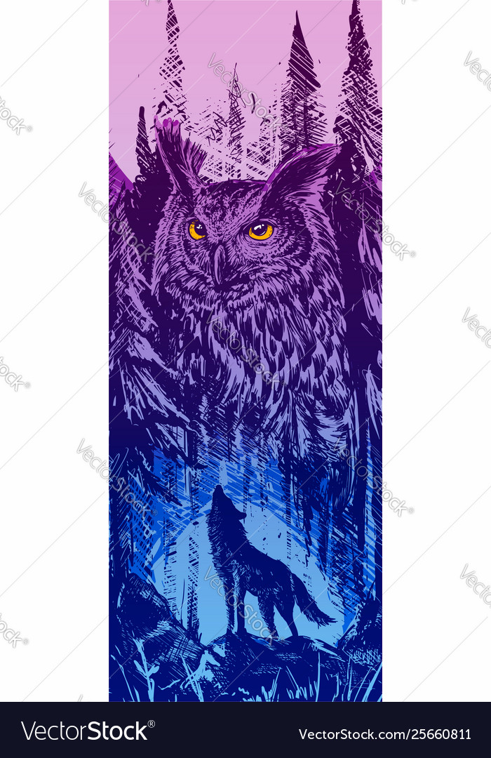 Graphic howling wolf with big owl in forest