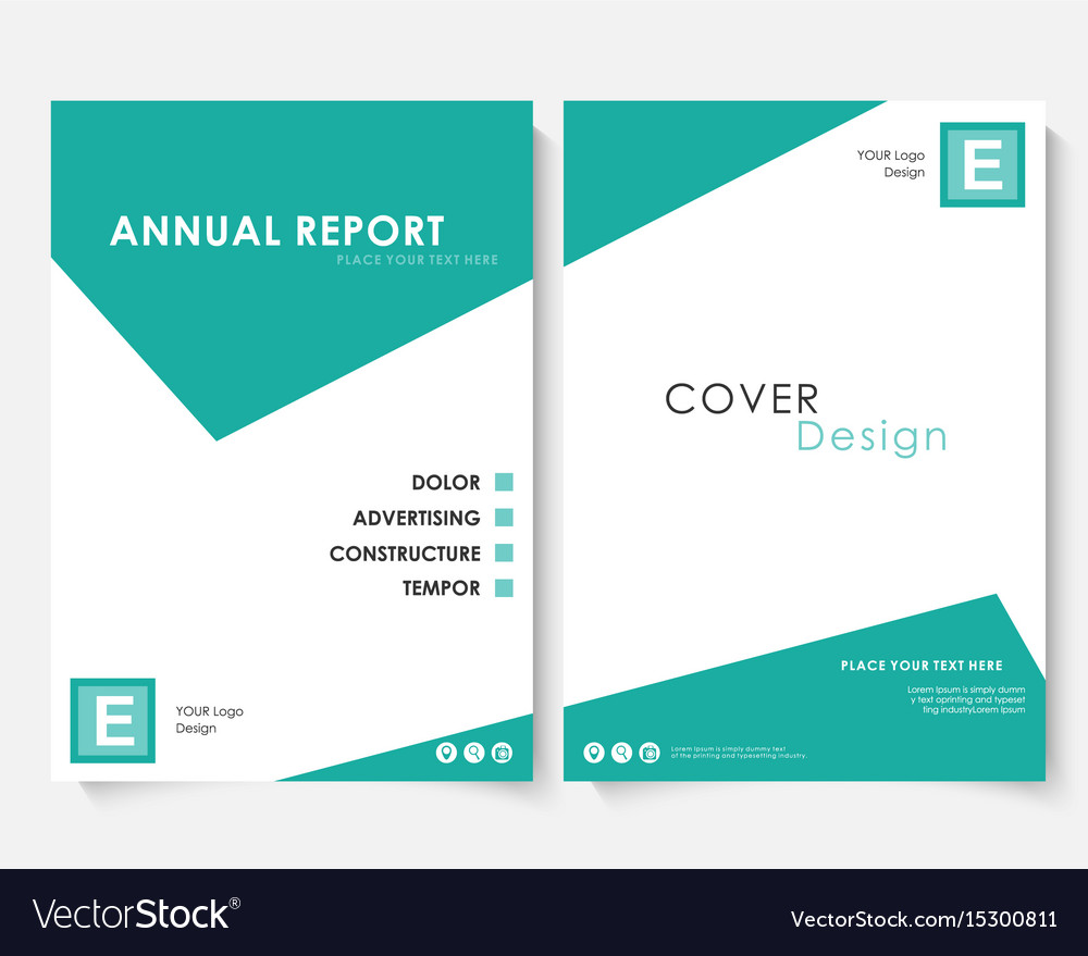 green square annual report cover design template vector image. Black Bedroom Furniture Sets. Home Design Ideas