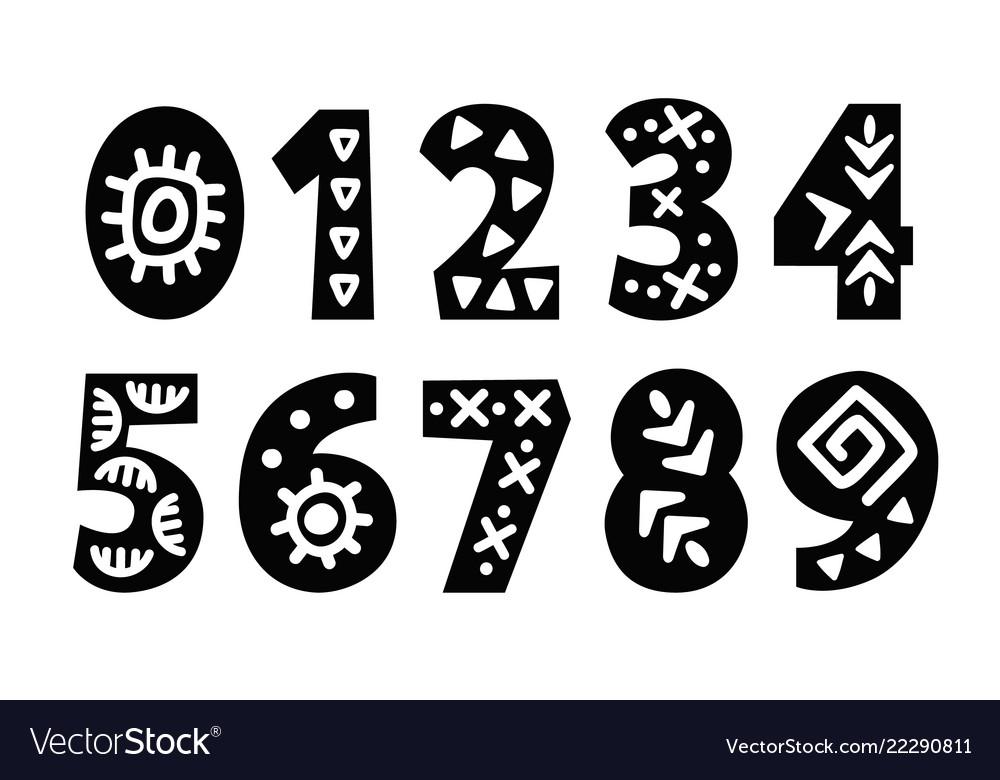 Hand drawn folk tribal numbers set