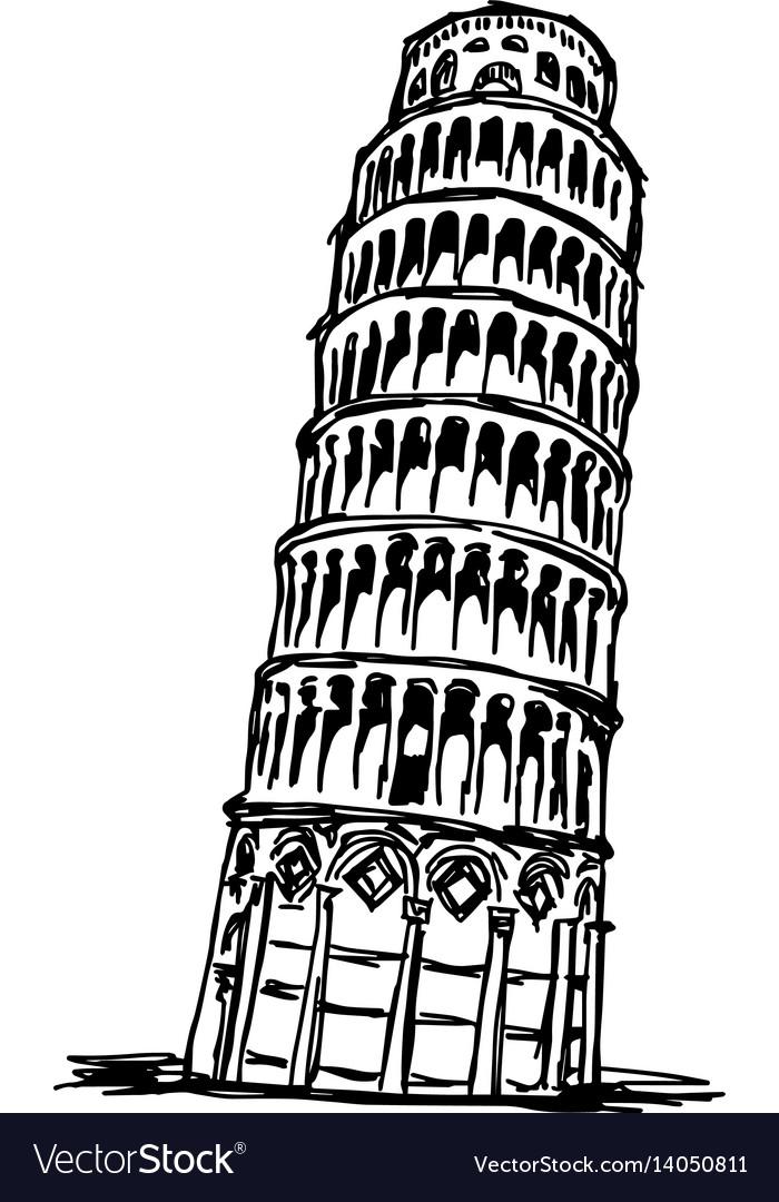 Падающая башня рисунок карандашом