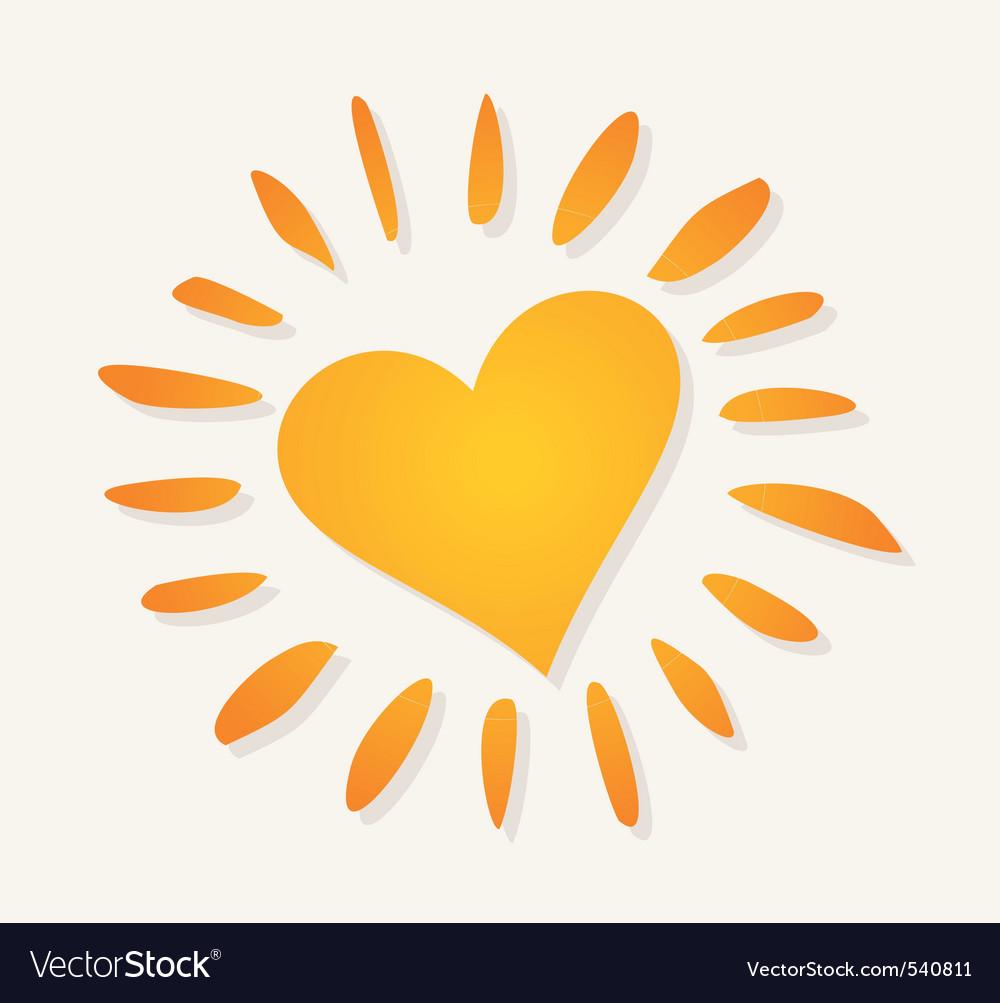 Love sun logo vector image