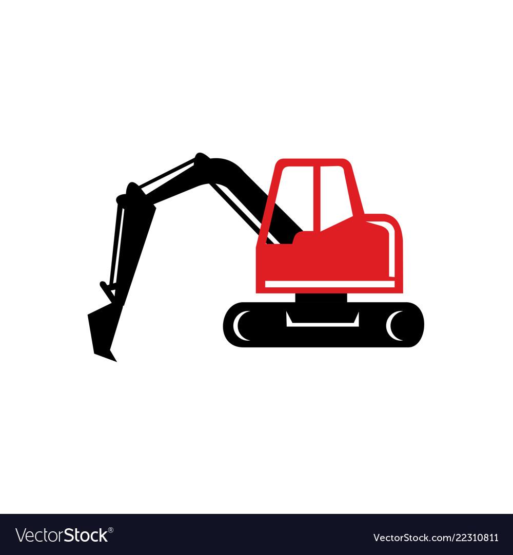 Mechanical excavator digger retro icon