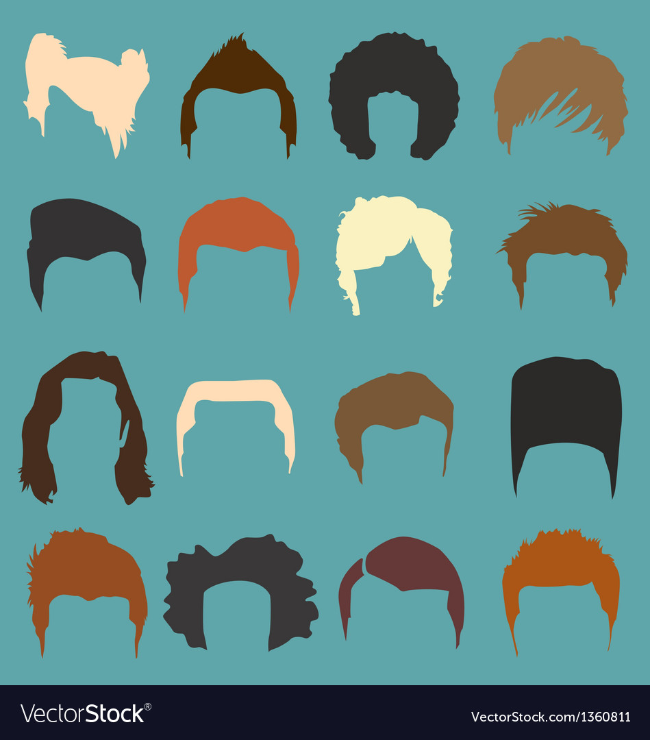 Mens Hairdo Styles in Color vector image