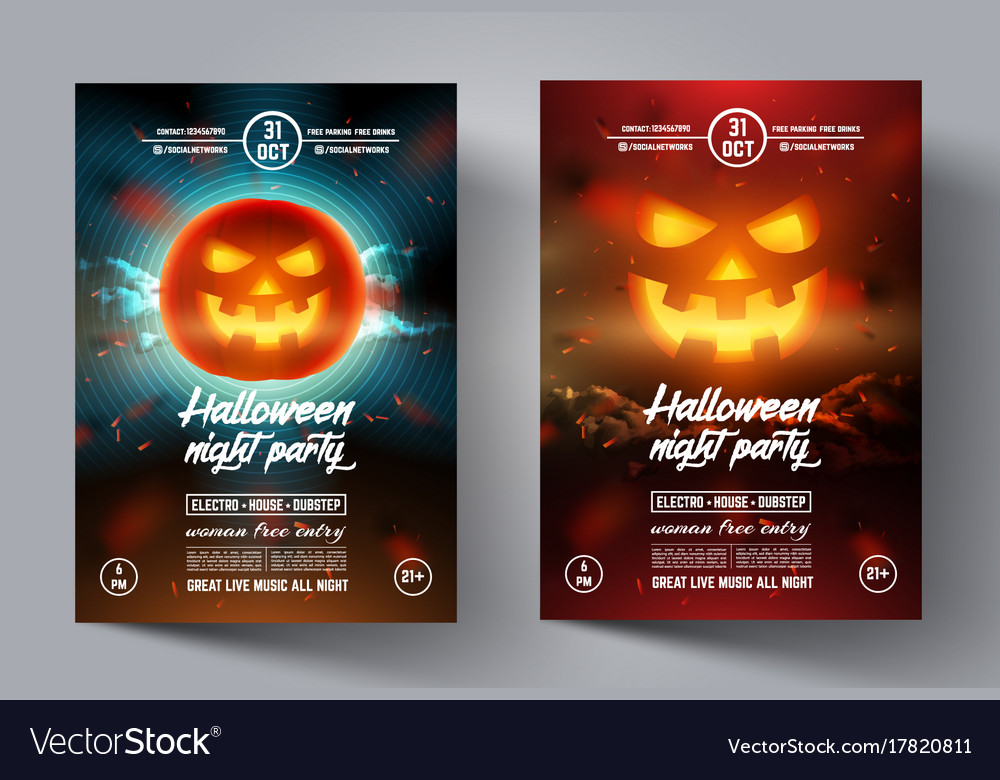 Mystical Party Flyer Happy Halloween Template Vector Image