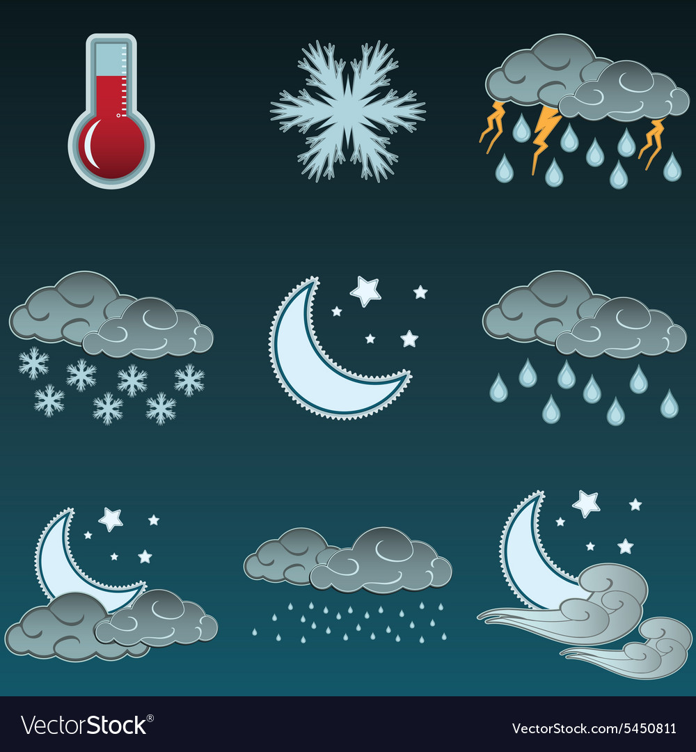 Night weather colour icons set