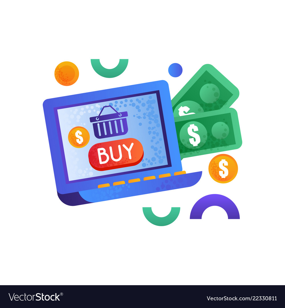 Online shopping symbols money and laptop computer
