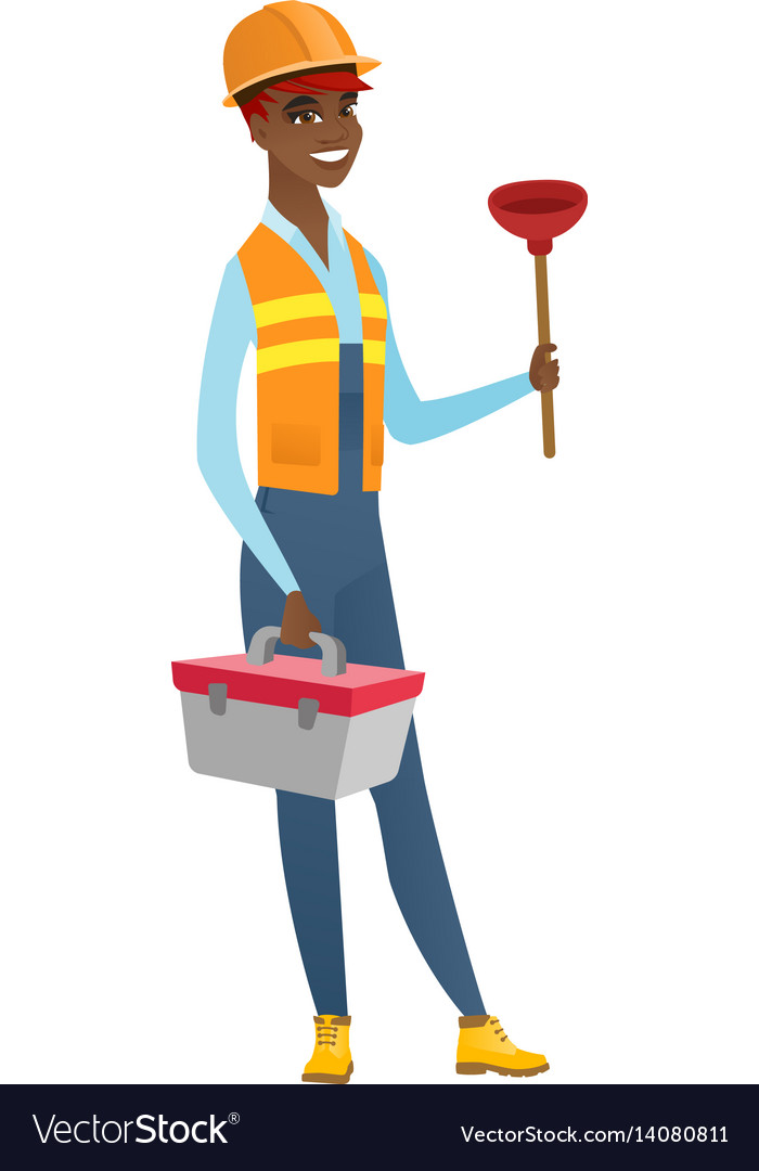 Plumber holding plunger and tool box vector image