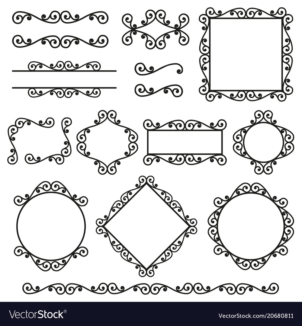Set of frames borders corners in the same style vector image on VectorStock
