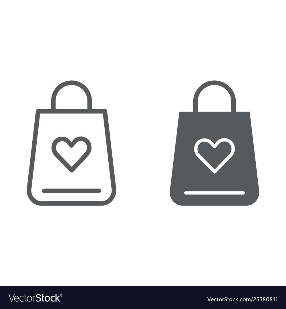 Shopping bag line and glyph icon love and gift